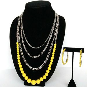 Jewelry - Yellow & Silver-tone Necklace Set
